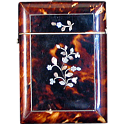 Shell and Mother of Pearl Victorian Calling Card Case late 19th century