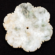 Chinese pale green with dark green inclusions jade flower blossom from the Yuan or Ming Dynast