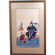 Chinese gouache rice paper painting of a warrior and bannerman 19th century