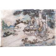 Antique Chinese painted stone tile of Ming scholars in the wilderness