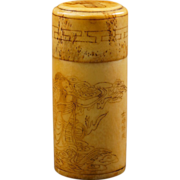 Chinese bone scrimshawed lidded container circa 1900