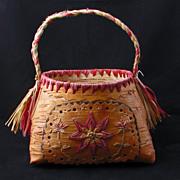 REDUCED Mid 20th Century Souvenir Birch Bark Indian basket with a Raffia Handle