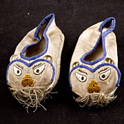 Pair of Vintage Chinese child's silk shoes from the late 19th early 20th century