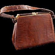 REDUCED Vintage Dark Brown Alligator Purse/Handbag c 1964