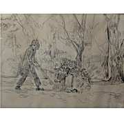 "Bill Komodore (1932-2012) - ""Leafblower"" – 1973, original charcoal drawing on pape"