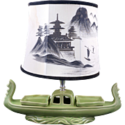 """Mid-century Lime green """"Oriental"""" boat lamp / serving piece circa 1950"""