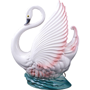 Mid-century swan Maddux TV lamp with pink and turquoise circa 1959