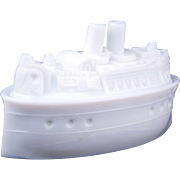 Victorian USS Battleship Maine covered milk glass candy dish circa 1898