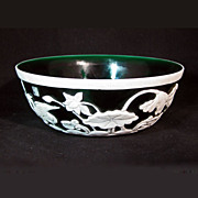 Chinese Peking Glass Green and White Bowl with Waterfowl 20th Century
