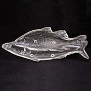 Early American Pressed Glass (EAPG) Atterbury Clear Double Fish Pickle Dish – 1872