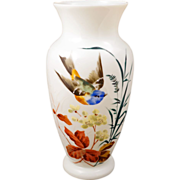 REDUCED Large white Bristol glass vase with a hand painted design of a flying bird, grass and