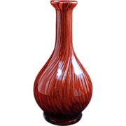 "Vintage labeled maroon  7 3/4"" Murano glass vase with swirled metallic design c 1960"