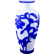 Early 20th century Blue overlay Chinese Peking glass vase with lily and bird design