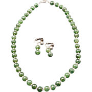Jade and Crystal Necklace and Matching Earrings Set Circa 1940's
