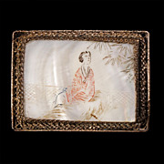 Chinese mother of pearl and silver etched broach pin - Early 20th Century