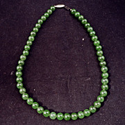 "Chinese dark green jade 17"" necklace"