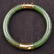 SOLD Segmented spinach green jade bangle bracelet with gold washed silver fittings