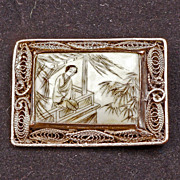 Chinese scrimshaw pin with silver wire mount circa 1900