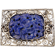Silver Chinese clip with lapis lazuli carved central panel circa 1900