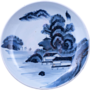 Antique large Japanese porcelain blue and white shallow bowl fishing village scene 19th centur