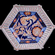 Reticulated porcelain Japanese Imari shallow bowl 19th century