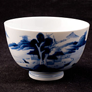 REDUCED Blue and White Japanese 19th Century Porcelain Teacup with Landscape