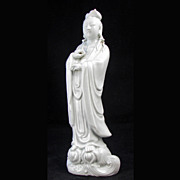 REDUCED Blanc de Chine Porcelain Figurine of Kuan Yin