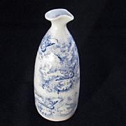REDUCED Vintage Japanese Blue Stencil Handmade Porcelain Sake Bottle with Birds Soaring into C