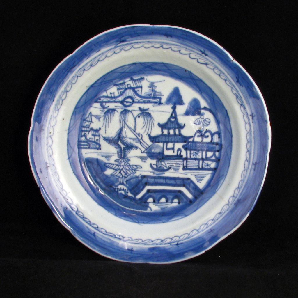 """18th -19th Century Chinese Export 8 ¼ """" Porcelain Bowl with Willow Design"""