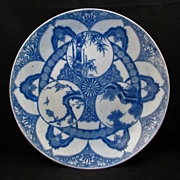 Large Igezara blue and white Japanese porcelain charger of three winter friends ca 1900