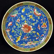 Chinese porcelain floral export dish in deep blue overglaze enamel - Republic Period