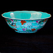 REDUCED Overglaze turquoise enamel Chinese porcelain bowl with a Jiaqing reign mark