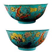 REDUCED Matching pair of Chinese turquoise porcelain bowls with butterflies and vines
