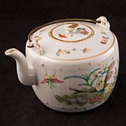 REDUCED Chinese overglaze enamel and transfer porcelain teapot with two distinct designs - ...