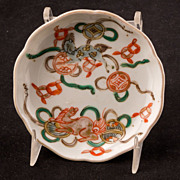 Five piece set of 19th century Japanese lmari small sauce dishes with playing foo lions
