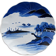 "Japanese Blue and  White Arita Porcelain 9"" Plate with Mountains, Sea and Boats - 19th Ce"