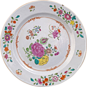 Chinese Qing export plate with floral design from the 18th/19th century