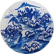 Large round blue and white Chinese porcelain plaque with village scene 18th/19th century