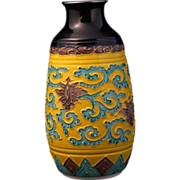 REDUCED Japanese Kutani porcelain sake bottle in Chinese fahua style design with Ming reign ..
