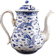 REDUCED Chinese porcelain export blue and white coffeepot with dragon design 19th century