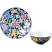 Chinese porcelain famille noir thousand flower design bowl and plate with Guangxu reign mark .