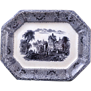 "Large Staffordshire mulberry transferware platter ""Rhone Scenery"" design by Mayer c 1850"
