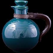 Mid-century Vernonware pine green ceramic carafe Casual California pattern c 1953