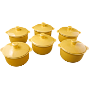 Set of 6 Mid-century Vernonware acacia yellow ceramic individual covered casseroles Casual Cal