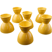 Set of 6 Mid century Vernonware acacia yellow ceramic eggcups Casual California pattern c 1953