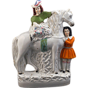 REDUCED Large English ceramic Staffordshire figure of a horse with boy and girl - late 19th ce