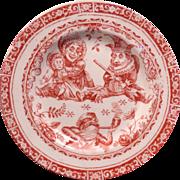 REDUCED C. Allerton Punch and Judy child's transferware dessert plate circa 1880