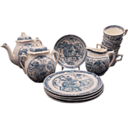 REDUCED Late Victorian C. Allerton 14 piece soft paste transfer ware child's tea set with girl