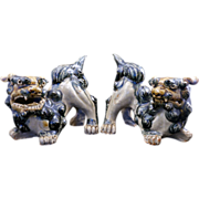 Pair of Chinese ceramic foo dogs or lions early 20th century