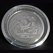 "Victorian Meriden 12"" Silverplate Tray with waterfowl c 1865"